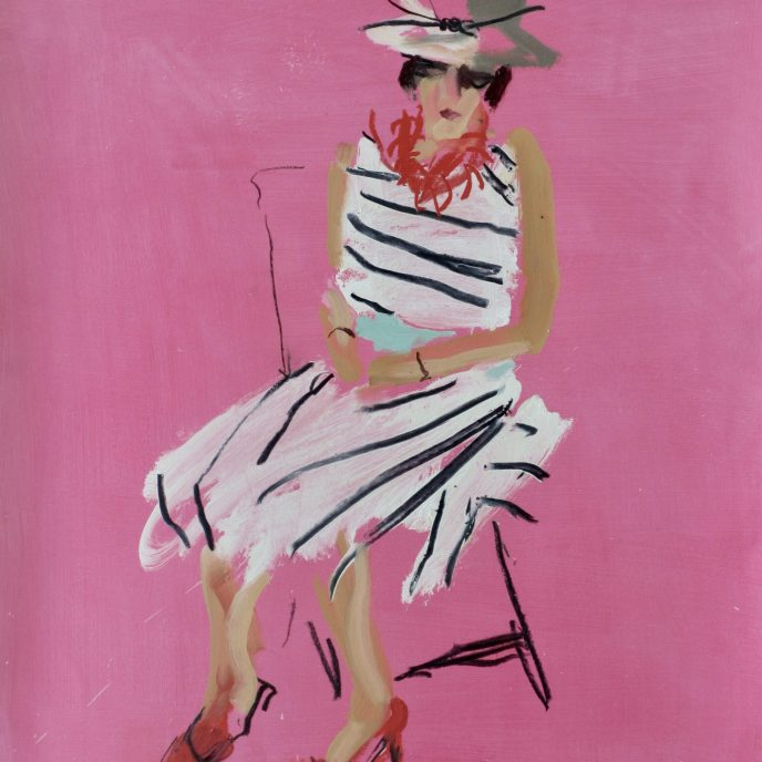 PINK MOMENT by Sophie Bartlett - Oil and charcoal on paper (framed) £595 COFFEE POT AND DAHLIA II Oil on board ( framed) £1200. 97 x 68 cm