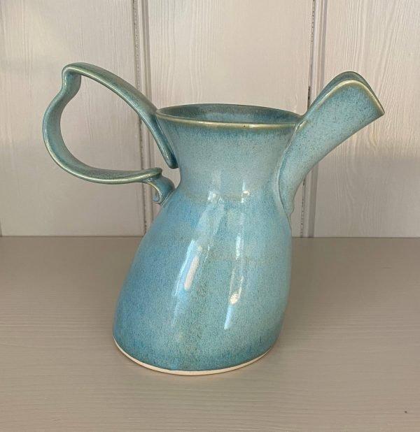 Ceramic glazed jug large turquoise