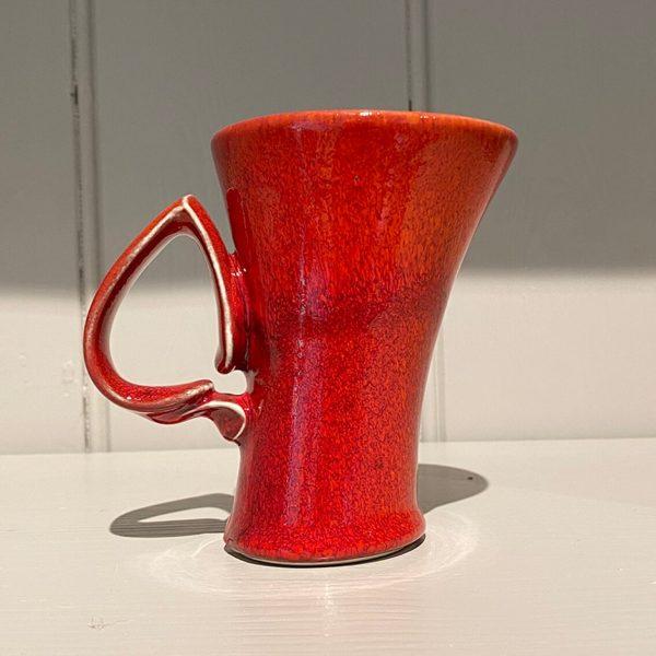 Dancer Mug Fluted Ceramic Stoneware Bright Red