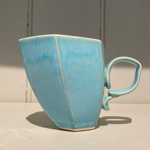Dancer Mug Hexagonal Ceramic Stoneware Turquoise