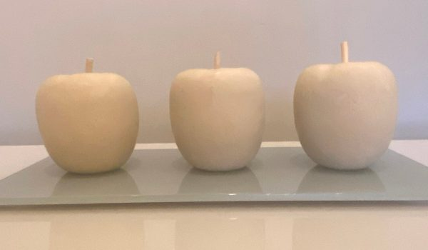 3 Apples on glass by Moira Ross